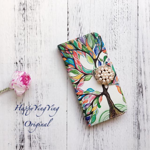 【iphone5/iphone5S/iphoneSE】幸せの木手帳型ケース