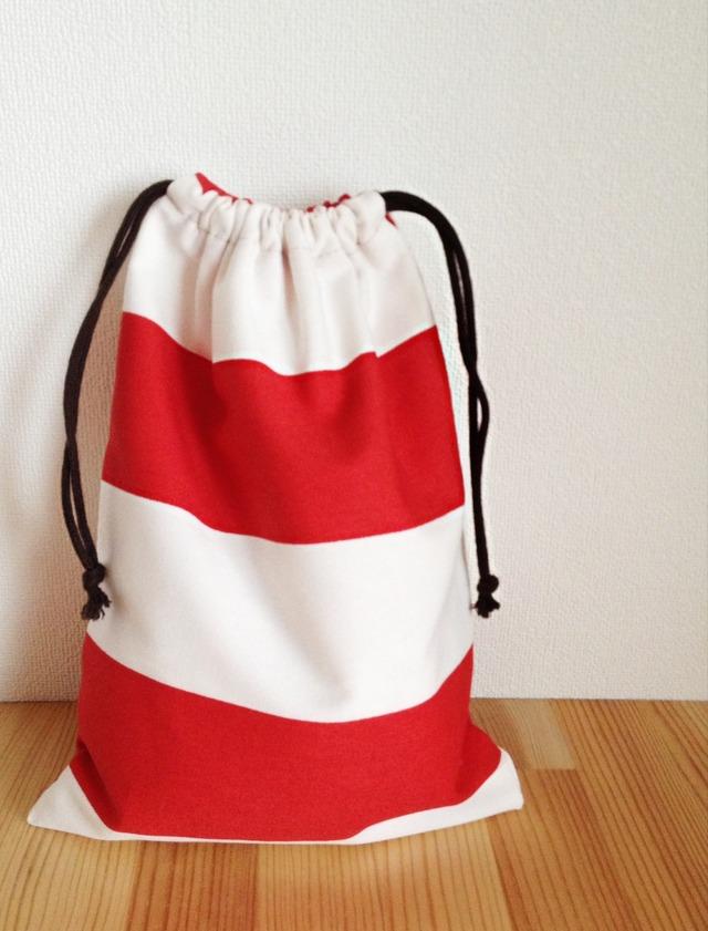しましまの巾着 (赤×白)