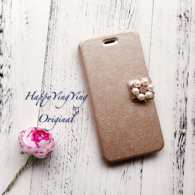 【iphone5/5S/SE】お花ビジュー手帳型ケース[5S金小]