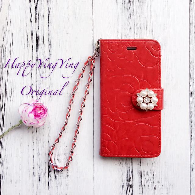 【iphone6Plus/6SPlus】花模様レッド手帳型 チェーン付き