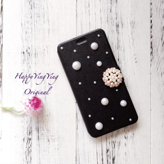 [黒大小パール]iphone6/iphone7/iphone7Plus/S7edge