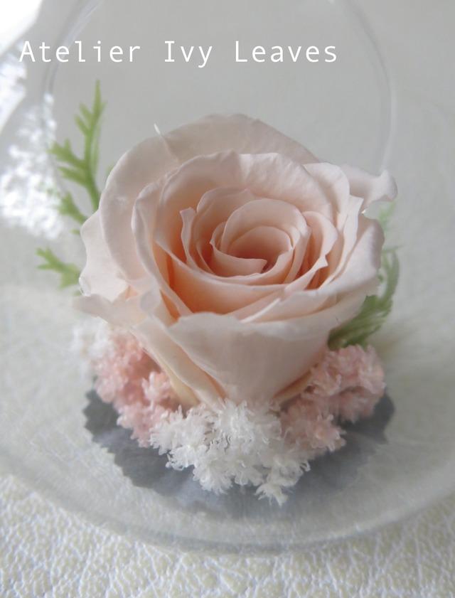 林檎型ガラス器のバラ(プリザ)のアレンジ