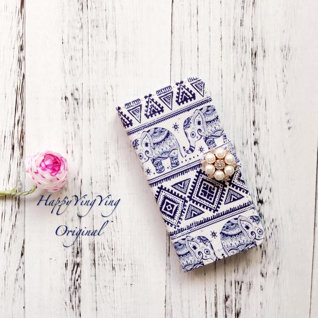 【iphone5s/6s/iphone6sPlusケース】エレファント柄手帳型【大象小花】
