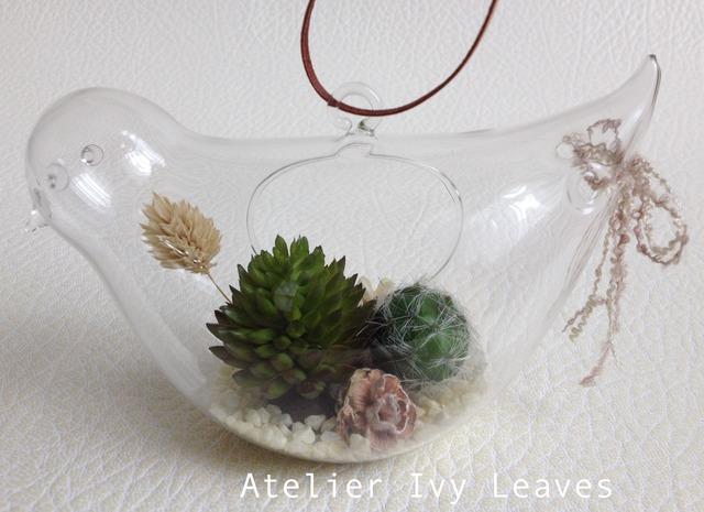 小鳥型ガラス器の多肉植物(アート)アレンジ