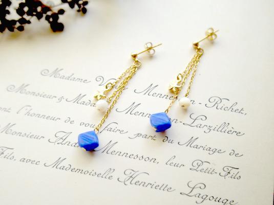 フランスビンテージの青ビーズと星のピアス