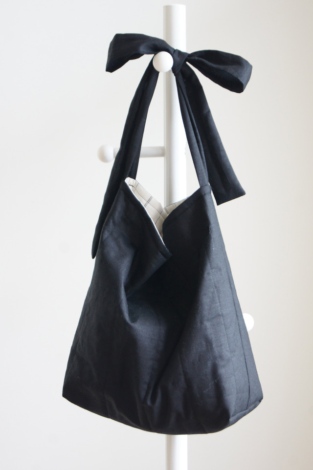 【受注製作】リネンキルティングリボンのバッグL(ブラック)