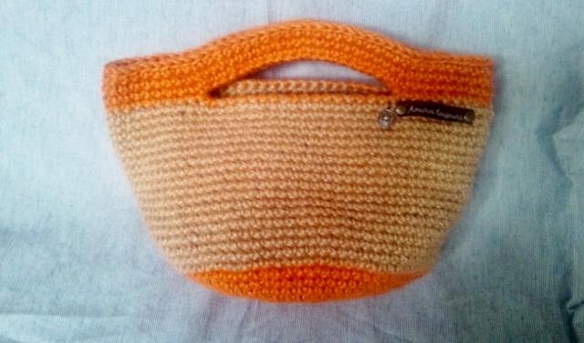 オレンジライン麻ひもバッグ