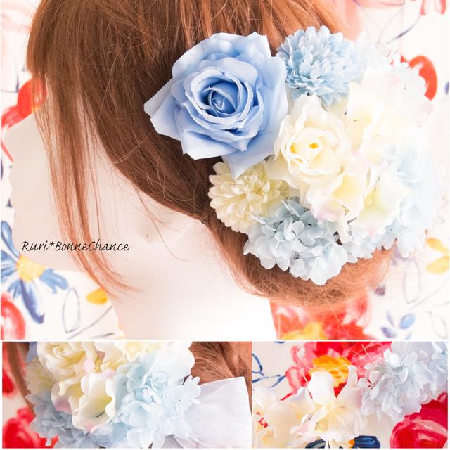 ~ブーケのようなヘッドドレス~鮮やかブルーのローズヘッド ...