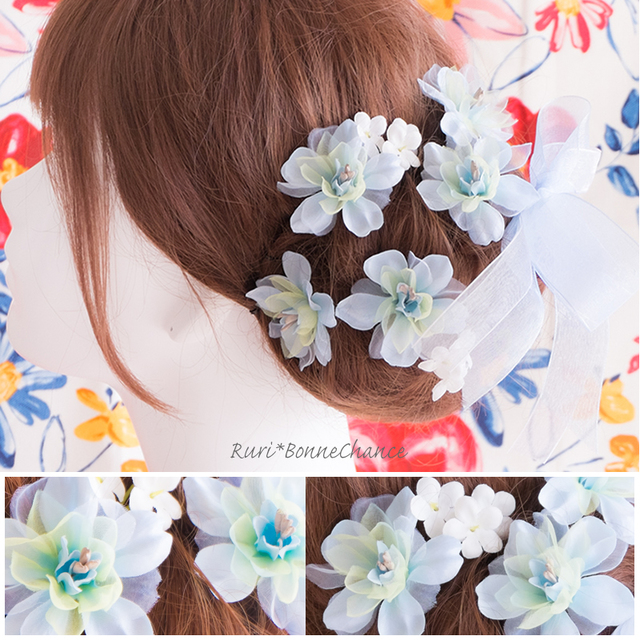 オーガンジフラワーとかすみ草のヘッドドレス~ 髪飾り ダリア ...