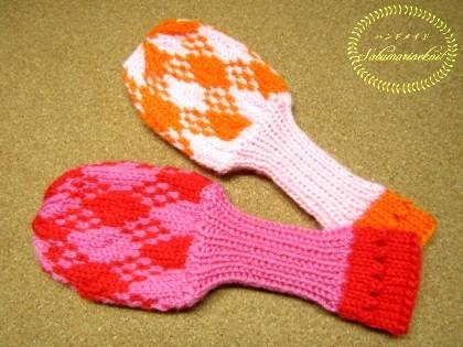 ダイヤ柄手編みヘッドカバーセット