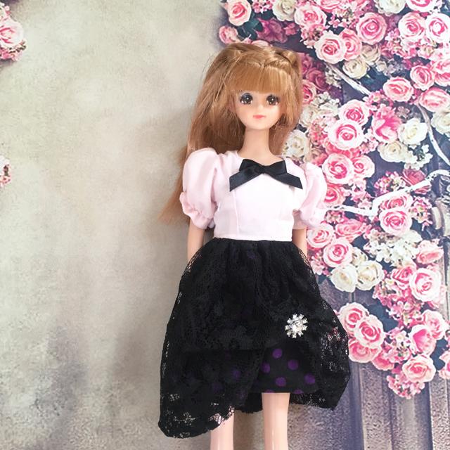 ピンクと黒のワンピース(ジェニー、リカちゃんママサイズ)