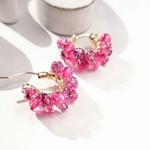 14kgf*multicolored Quartz pierced earring / earring PNK