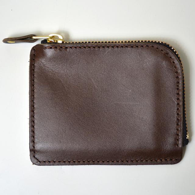 3bd69745c694 栃木レザー 薄い財布 ヌメ革 ファスナー ウォレット ダークブラウン メンズ