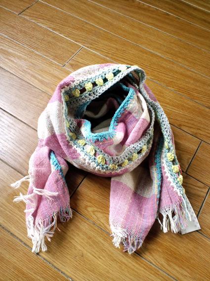 手紡ぎショール*ピンク