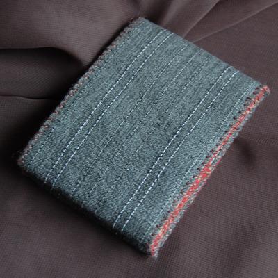 和風布製手縫い小銭入れ(グレー)