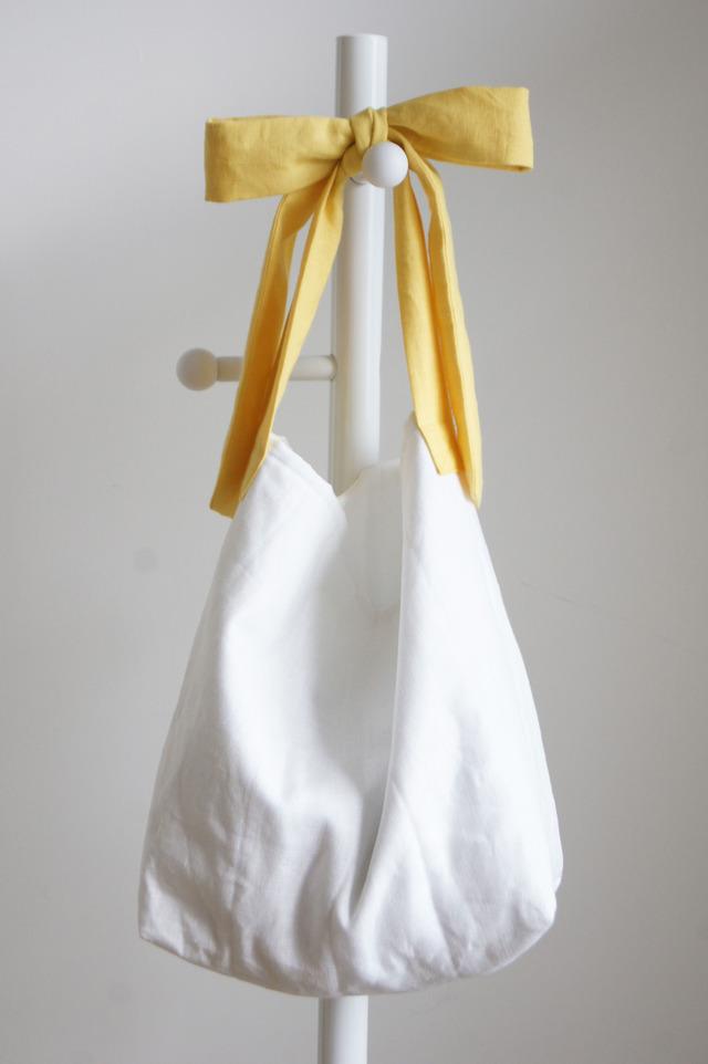 【L】リネンキルティングリボンのバッグ(イエロー )
