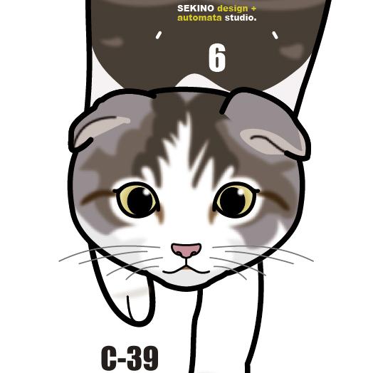 C-39 スコティッシュフォールド(子猫)-猫の振り子時計