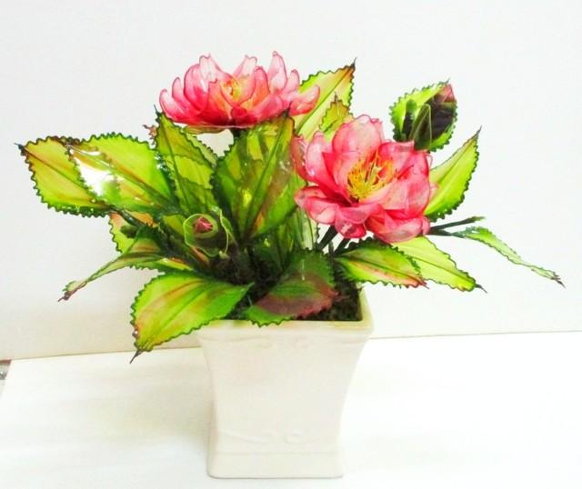 アメリカンフラワーのさざんか(八重咲き)