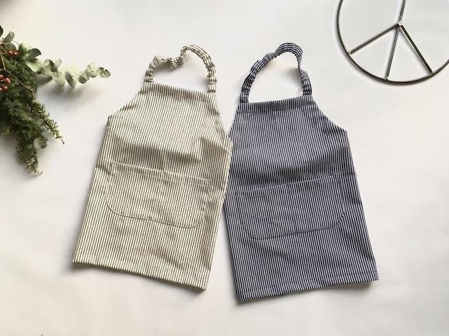 子供用 エプロン&三角巾  ヒッコリー