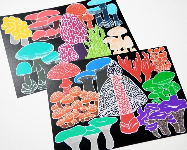 カラフル キノコのポストカードセット