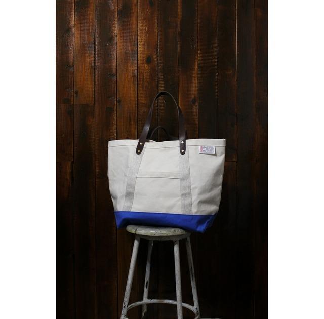 トートバッグ 牛ヌメ革の持ち手 9号帆布 大きめサイズ 青キャンバス PEDDLER