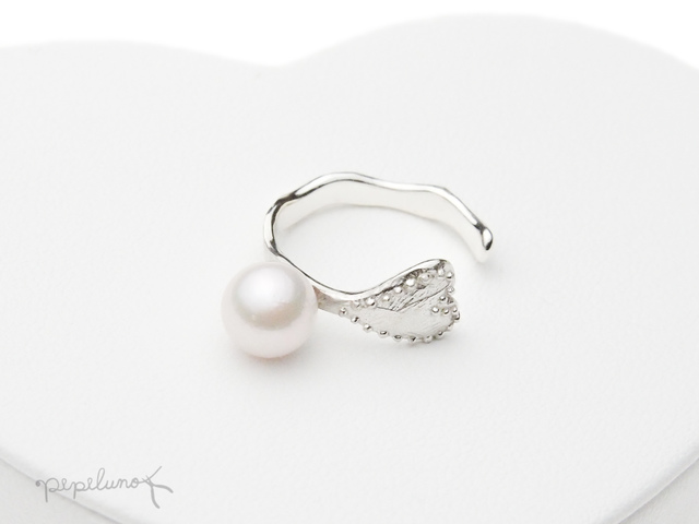 Silver925 真珠と指輪(ハート)