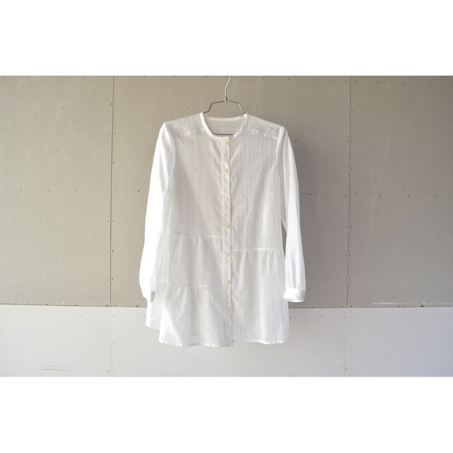 ASYMMETRY BLOCK GATHER LONG SHIRTS【SIZE:M】