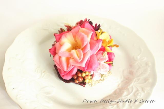 薔薇とコスモスのコサージュ(ヘッドドレス可)