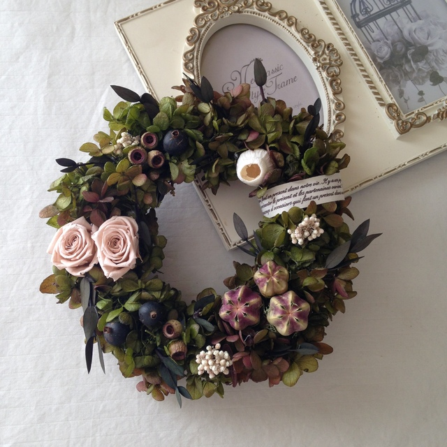ピンクローズのgreen wreath
