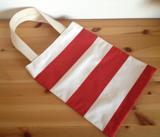 しましまのぺたんこトートバッグ (赤×白)