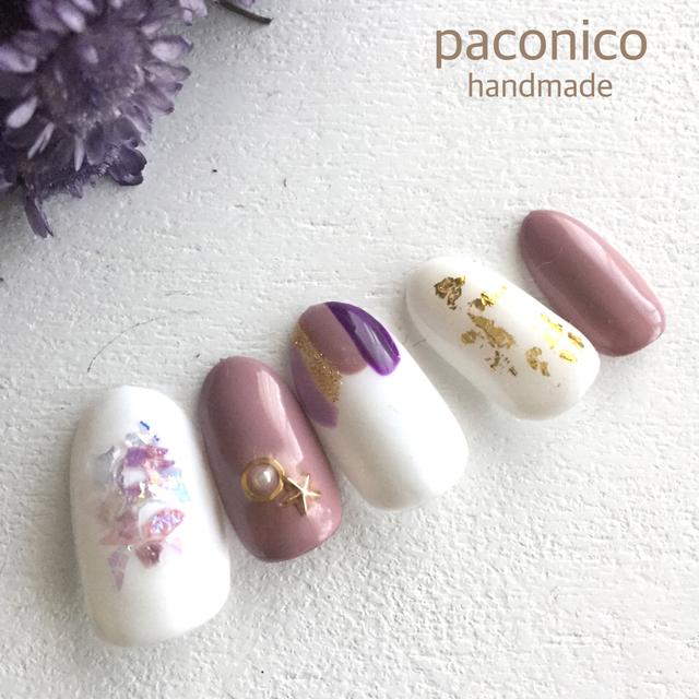 春の塗りかけネイル♬Blue・purple・Green・pink*ジェルネイル 接着