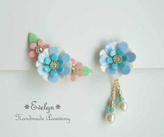 3連花asymmetryイヤリング:ブルー