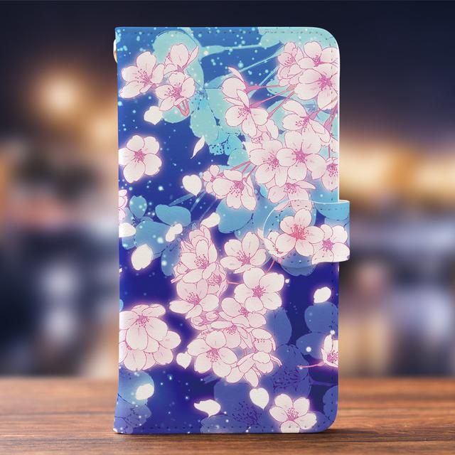 e787b2f31f Android iPhone両対応【ミラー付き手帳型スマホケース】夜桜 ...
