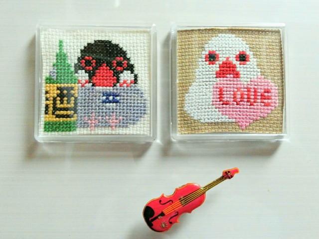 刺繍小物・おもしろ文鳥マグネット