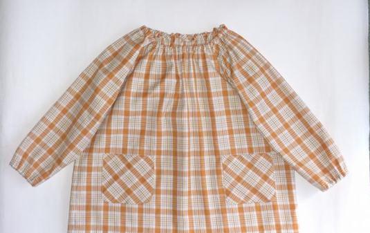 入園準備 女の子用 オレンジチェックのスモック(100cm)