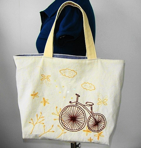 Bicycleのトートバッグ(刺繍  ☆送料込み)