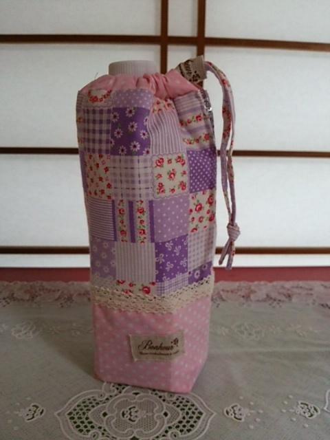 パープルと花柄の保冷・保温ペットボトルカバー
