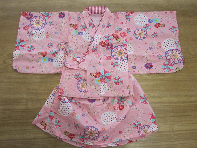 【値下げ】夏祭りに ピンク 花 80〜90cm 浴衣ドレス