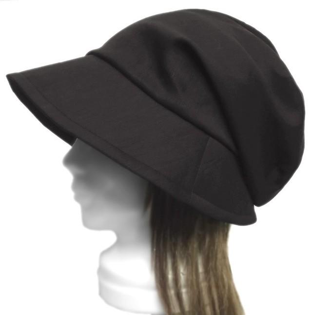 綿麻ストレッチツイル/つば広女優帽子(ゆったり)◆黒