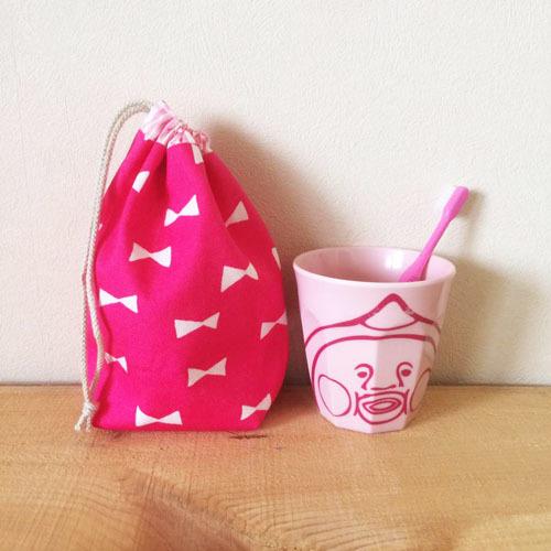 【再販です】コップ袋  *リボン*  ピンク