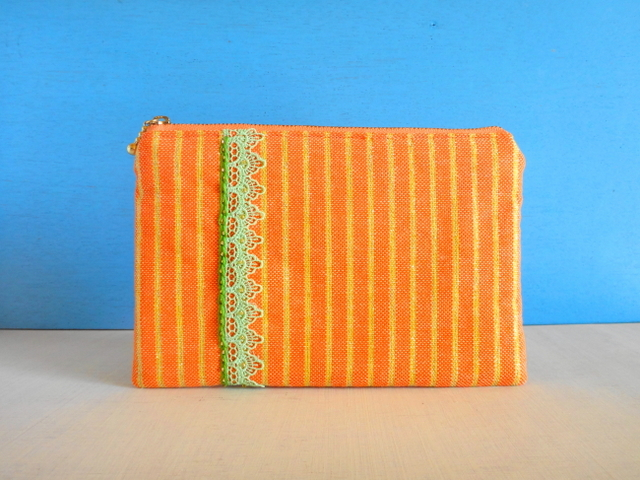 チュニジア布の縞々ポーチ(オレンジ×ゴールド)