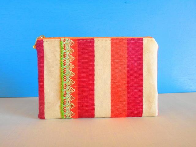 SALE☆チュニジア布の縞々ポーチ(オレンジ×あずき)