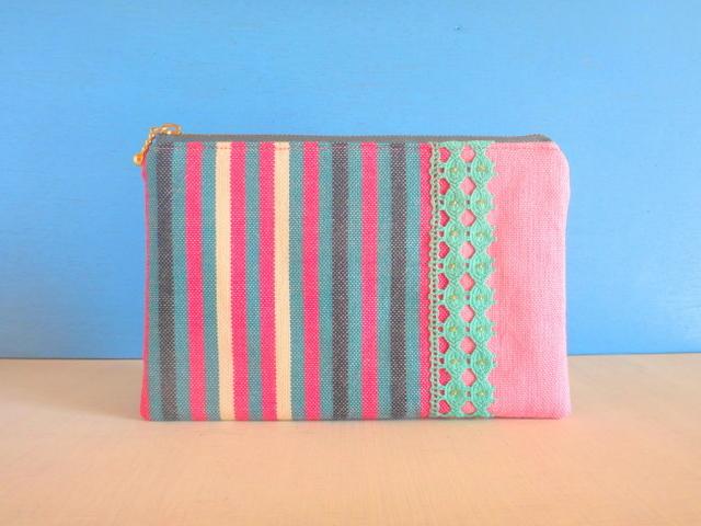 SALE☆チュニジア布の縞々ポーチ(ピンク×アッシュグリーン)