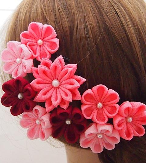 ピンク系花飾り3点セット つまみ細工