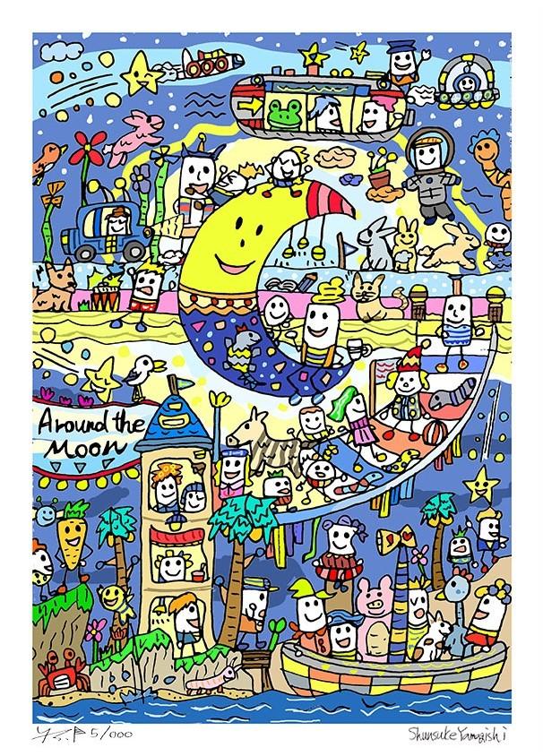 A3イラスト「Around the moon」(月をかこんで)