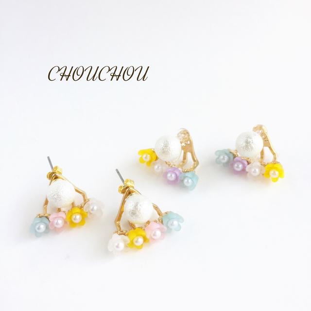 春色お花見/ピアス・樹脂ノンホールピアス