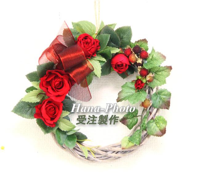 043)大人の深紅のバラ・リース   受注制作