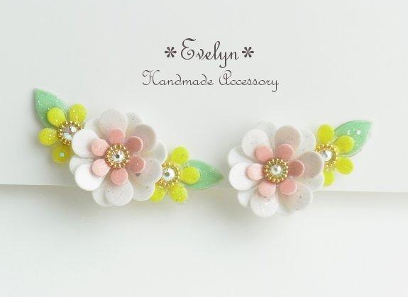 3連花asymmetryイヤリング(イヤーカフ):ピンク