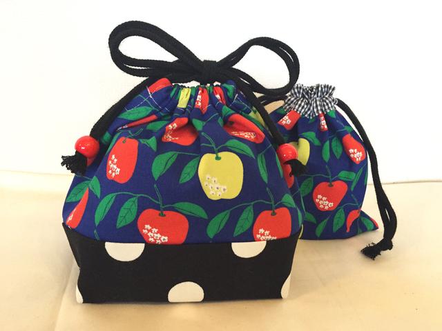 りんごとドットのお弁当袋&コップ袋セット