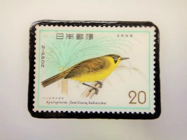 日本 鳥切手ブローチ 2211